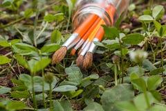 Paintbrushes в банке на предпосылке травы Стоковая Фотография RF