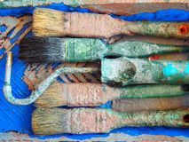 Paintbrushes в подносе Стоковые Фото