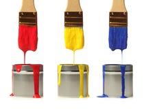 paintbrushes краски капания Стоковая Фотография RF