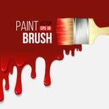 Paintbrushes с краской капания вектор Стоковое Изображение RF