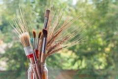 Paintbrushes с ушами хлопьев Стоковая Фотография RF