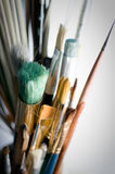 Paintbrushes. Collection of paint brushes with white background royalty free stock image