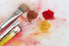 Paintbrushes and art pigments Royalty Free Stock Images