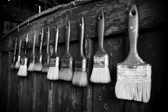Paintbrushes. In black and white Royalty Free Stock Images