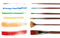 Paintbrushes with brush strokes Stock Photography