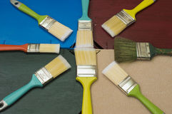 Paintbrushes. Brushes of different colors and sizes Stock Photo