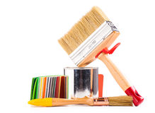Paintbrushes  and can of paint Royalty Free Stock Photos