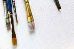 Paintbrushes on canvas Stock Images