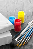 Paintbrushes with canvas Royalty Free Stock Image