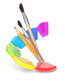Paintbrushes and color palette Royalty Free Stock Image