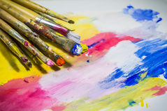 Paintbrushes with color royalty free stock photography