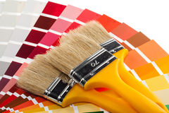 Paintbrushes and color samples Royalty Free Stock Image