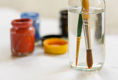Paintbrushes and color Stock Photo