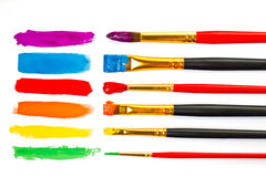 Paintbrushes with colored strokes Stock Image