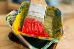 Paintbrushes and Colors in a Atelier in Hamburg Stock Photo