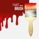 Paintbrushes with dripping paint. Vector Stock Images