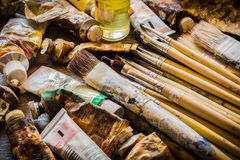 Paintbrushes i nafciane farby Fotografia Stock