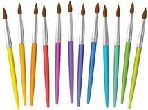 Paintbrushes Loosely Arranged Rainbow Colored Collection Royalty Free Stock Photos