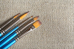 Paintbrushes On Canvas Royalty Free Stock Images