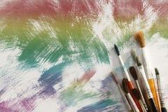 Paintbrushes On Painted Background Royalty Free Stock Image