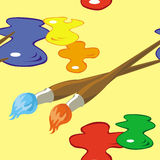 Paintbrushes and paint spots seamless pattern Royalty Free Stock Photo