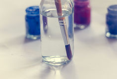 Paintbrushes paints Royalty Free Stock Image