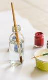 Paintbrushes paints Stock Photo