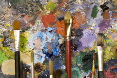Paintbrushes and palette Stock Photography