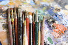 Paintbrushes and palette Royalty Free Stock Images