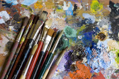 Paintbrushes and palette Royalty Free Stock Photography
