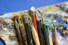 Paintbrushes and palette Royalty Free Stock Image