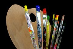 Paintbrushes and palette Stock Image
