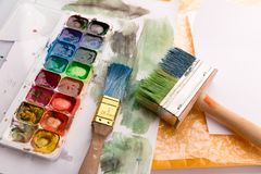 Paintbrushes and palette Royalty Free Stock Photo