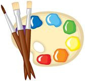 Paintbrushes and palette of paints Royalty Free Stock Images