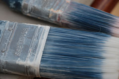 Paintbrushes używali błękit Zdjęcie Royalty Free