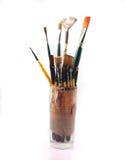 PaintBrushes on a white Background. Paint brushes in a glass on a white Background Royalty Free Stock Photos