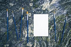 Paintbrushes and blank canvas on mossy stone background. Paintbrushes and white canvas with copy space on mossy stone background. Scandinavian nature inspiration royalty free stock photography
