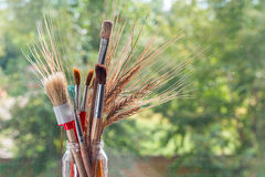 Paintbrushes With Ears Of Cereal Royalty Free Stock Photography
