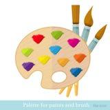 与所有颜色绘画的技巧的平的象paintbrushs在调色板 免版税库存图片