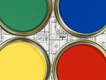 Paintcans und Lichtpause Lizenzfreie Stockfotos