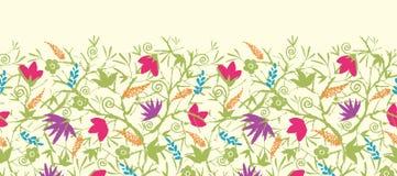 Painted开花的分支水平无缝 库存图片