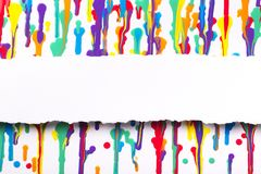 Painted abstract background, strip of white paper with torn edges with a place Royalty Free Stock Photo