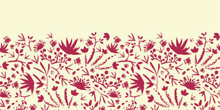Painted abstract florals horizontal seamless Stock Image