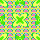 Painted Abstract Flower Seamless Pattern. Colorful floral background  Royalty Free Stock Photo