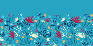 Painted abstract flowers and plants horizontal stock illustration