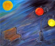 Painted abstract night city with bench and lamps royalty free illustration