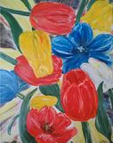Painted abstract red, blue, yellow, white tulip flowers. Painted abstract red, blue, yellow, white tulips with the yellow backdrop. Drawn with oil on canvas Royalty Free Stock Photography