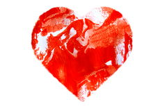 Painted Abstract Red Heart Stock Photo