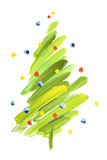Painted abstract sketch Xmas tree Stock Photos