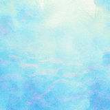Painted abstract watercolor water, sea, clouds and Stock Photo